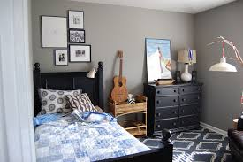 Small Boys Room Paint Ideas Using Grey Wall Color With Traditional Bedroom  Furniture Black Wooden Material ...