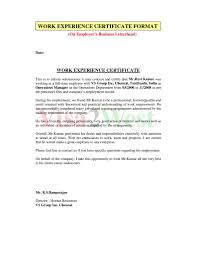 Best Ideas Of Work Experience Letter Sample Format With Experience