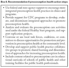 birth plan suggestions recommendations to improve preconception health and health care