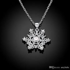 whole fashion stylish silver diamond zircon accent classic snowflake chain necklace chain length 18 for women girls lknspcn771 snowflake pendant