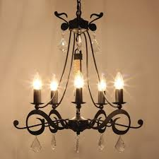 retro wrought iron crystal accented black chandelier