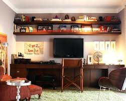 home office wall shelves. Simple Home Long Wooden Shelves Contemporary Home Office With Wood Wall  Elegant Desk Brown And Home Office Wall Shelves C