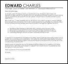 Hr Advisor Cover Letter Sample Livecareer Human Resources Cover Letter