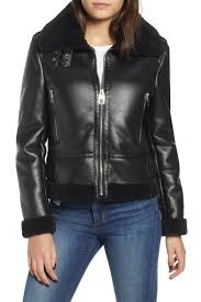 image of kensie faux leather moto jacket with faux shearling trim