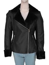 fashionable black faux fur leather jacket for women women s black leather jacket