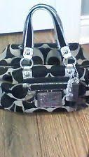 Coach Poppy 15860 Black Silver Signature Sateen Luxe Satchel Tote Handbag