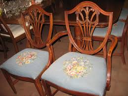 hepplewhite shield dining chairs set: home  mahogany dining table  drapery shield back needlepoint chairs