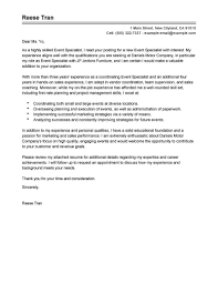Collection Of Solutions Best Event Specialist Cover Letter Examples