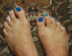 my male painted toes in um blue called girls night out by jesses girl