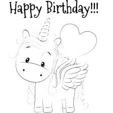 Birthday Coloring Pages For Adults Free Printable Unicorn Birthday
