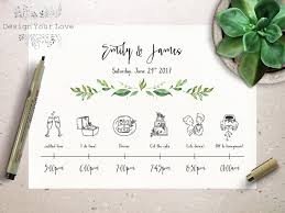 Wedding Itinerary Wedding Timeline Printable Wedding Itinerary Template Green 4