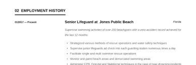 Lifeguard Resume Writing Guide 12 Templates 2019