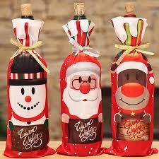 <b>Cartoon Santa Elk</b> Snowman Wine Bottle Cover Bag Christmas ...