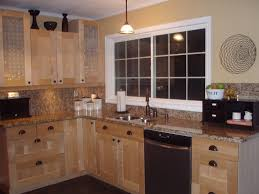 Exquisite Small Kitchen Ideas With L Shaped Natural Brown Pine
