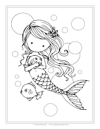 Small Picture Free Mermaid with Fish Coloring Page by Molly Harrison Fantasy Art