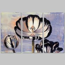 3pcs set black white flower ink lotus picture decoration purple canvas painting wall art for on black and white tulip wall art with 3pcs set black white flower ink lotus picture decoration purple