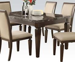 Marble Dining Room Sets Black Espresso Marble Top Dining Room Table And Chair Set Modern