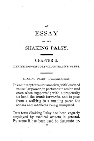 file parkinson an essay on the shaking palsy first page png  file parkinson an essay on the shaking palsy first page png