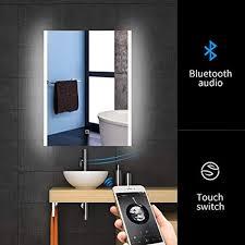 Wall mounted bathroom mirror Lighted Image Unavailable Amazoncom Amazoncom 24 32 Inch Led Bluetooth Bathroom Mirror Wall Mounted