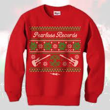 Ugly Christmas Sweater Red Crewneck Sweatshirt : FEAR : MerchNOW ...