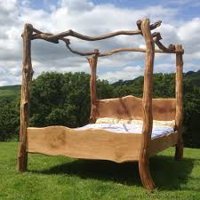 rustic tree furniture. rustic oak four poster tree bed beautiful chunky wooden frame solid furniture