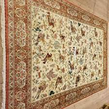 9x6 3m x 2m pictorial hunting pure silk qum persian rugs with 600 kpsi