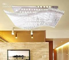 fancy remote control chandelier modern minimalist led crystal rectangular ceiling lamp dining room chandelier remote control