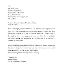 2 Week Notice Letter For Work Sample Resignation Letter Professional Cool Weeks Notice