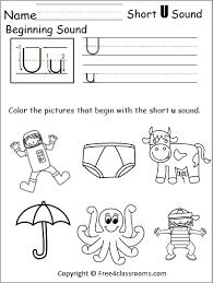 Phonics short and long vowels. Free Beginning Sounds Worksheet Short U Free4classrooms