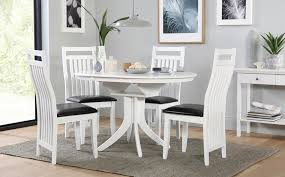 hudson white round extending dining table and 6 chairs set white round extendable dining table and