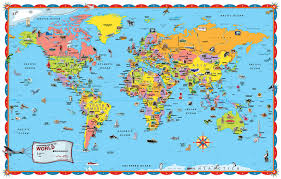 wall map mural laminated hd world map poster for kids
