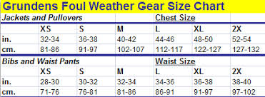 Rains Size Chart Rain Gear For Tree Workers