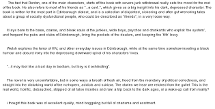 book review on trainspotting at com essay on book review on trainspotting