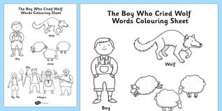 Small Picture The Boy Who Cried Wolf Words Colouring Sheet colour in