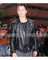 ansel elgort black motorcycle leather jacket
