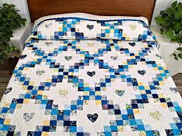Irish Chain with Hearts Quilt -- outstanding meticulously made ... & Blue and Yellow Irish Chain with Hearts Quilt Photo 1 ... Adamdwight.com