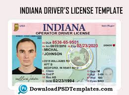 Template Psd Driver's In editable Indiana License