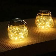 roshwey hanging solar glass jar lights