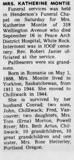Obituary for KATHERINE MONTIE - Newspapers.com
