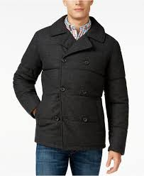 Tommy hilfiger Ash Quilted Peacoat in Gray for Men | Lyst & Gallery Adamdwight.com