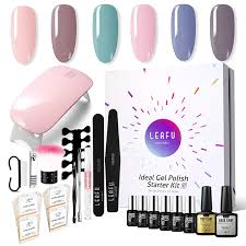 Modelones Gel Nail Polish Starter Kit With 6w Led Lamp Base Top Coat 6 Gels In Tiny Bottles