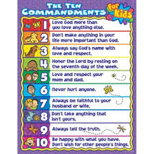 The 10 Commandments For Kids Chart