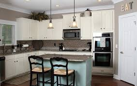 Kitchen With Blue Walls Kitchen White Kitchen Cabinet And Blue Wall Design Coastal