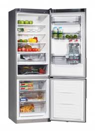 open refrigerator. open refrigerator with food o