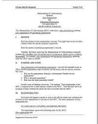 Memorandum Sample Sample Memorandum Of Understanding Mou Summer Matters