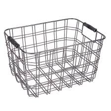Buy the small metal wire basket with wooden handles by ashland® at