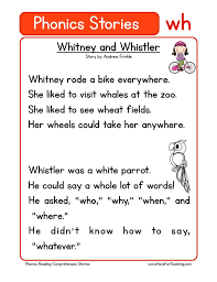 Printable phonics worksheets for kids. Whitney And Whistler Wh Phonics Stories Reading Comprehension Worksheet Have Fun Teaching