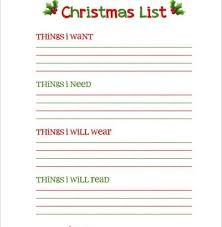 Blank Christmas List Free Printable Christmas Wish List Template Familycourt Us