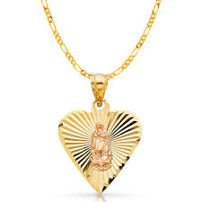 ioka 14k two tone solid gold religious our lady of guadalupe charm pendant with 1mm box chain necklace 16 com