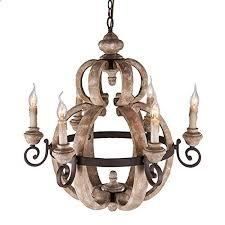 kunmai rustic country candle style wood and metal farmhouse chandelier with 6 uplight